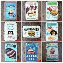 Cartel Retro de Metal de hierro para decoración de Bar, cartel de hojalata, pastel, bocadillo, placa de Metal, pintura de hamburguesa, cartel para casa, pared Vintage decoración