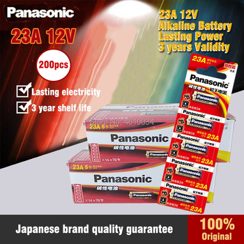 200PC New Panasonic 23A 12V dry alkaline battery 23AE 21/23 A23 23GA MN21 for doorbell,car alarm,walkman,car remote control etc image