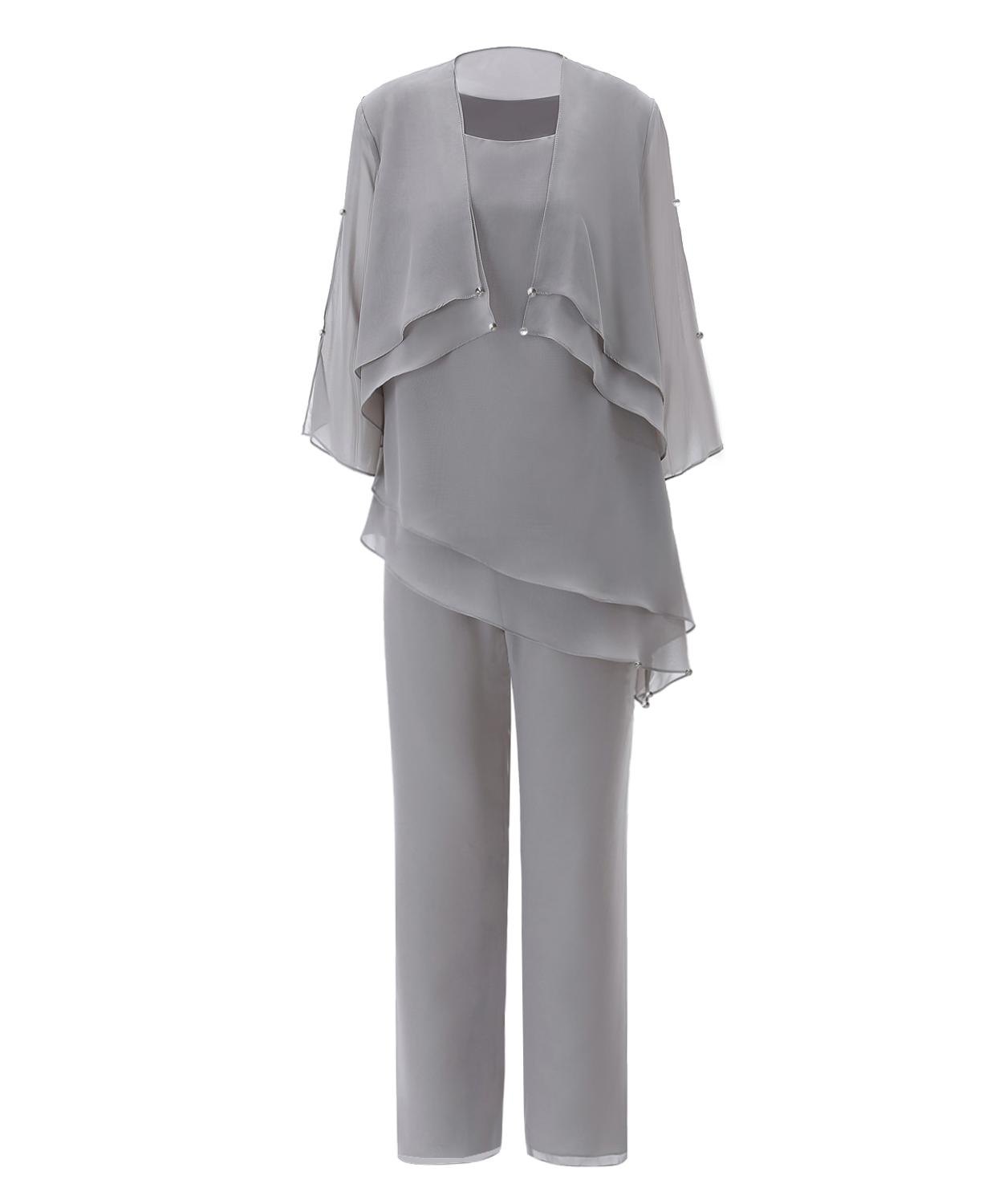 SOLOVEDRESS Grey Mother Of The Bride Dress Pantsuits Womens Asymmetrical Chiffon Lining Suit With Short Outfit Jacket 3 Pieces