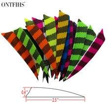ONTFIHS Striped Orange Feathers Fletching Arrow 10-20-30-50-100-200-400-1000pcs 5 Shield Cut Archery Accessories Wholesale