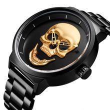 Мужские часы крутые панк 3d череп нержавеющая сталь топ люксовый