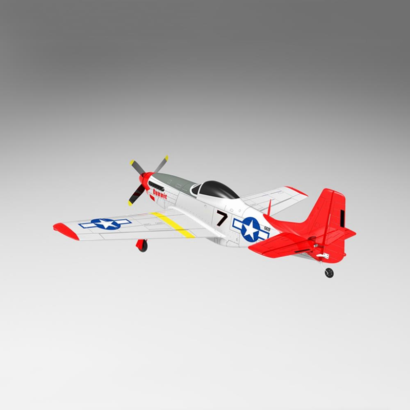 Volantex RC 768-1 Mus&tang P51D 2.4Ghz 6CH 750mm 29.5 In Red Wingspan EPO Warbird RC Airplane RTF & 7040 Propeller Kids Toys image