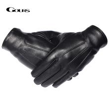 GOURS zimowe rękawiczki męskie oryginalne skórzane rękawiczki z ekranem dotykowym prawdziwe kożuchy czarne ciepłe rękawiczki do jazdy rękawiczki New Arrival GSM050 tanie tanio Dla dorosłych Prawdziwej skóry Stałe Nadgarstek Moda Real Leather gloves Winter Black Sheepskin S M L All men Touch screen Fashion Warm