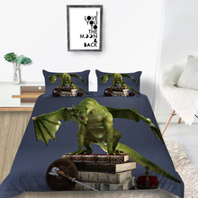Green Dragon Bedding Set Ancient Books Soft 3D Hig