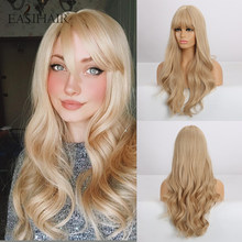 Eashihair – perruque synthétique longue Blonde ondulée avec frange, naturelle, résistante à la chaleur, pour femmes, Cosplay, usage quotidien