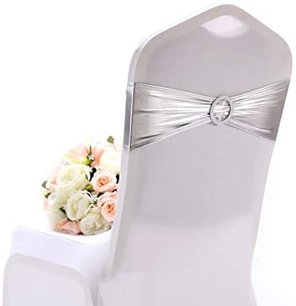 10 pcs Chair Covers Bands With Buckle Slider For Wedding Decoration Chair Sashes Bow Wedding Banquet Party Chair Bows Ties