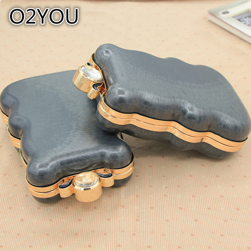 Gold Color With Black Plastic Box Size 19x13x5 Cm With Crystal Clasp Metal Purse Frame Bag Handle Accssories Coin Purse Frame