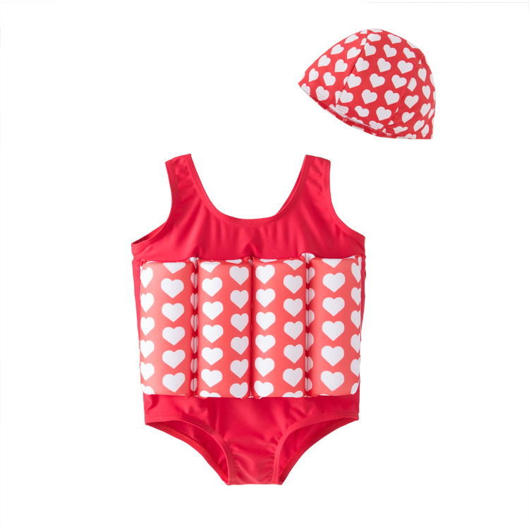 Men And Women-One-piece Swimming Suit Buoyancy Bathing Suit With Hat 2 Pieces KID'S Swimwear Hot Springs Clothing
