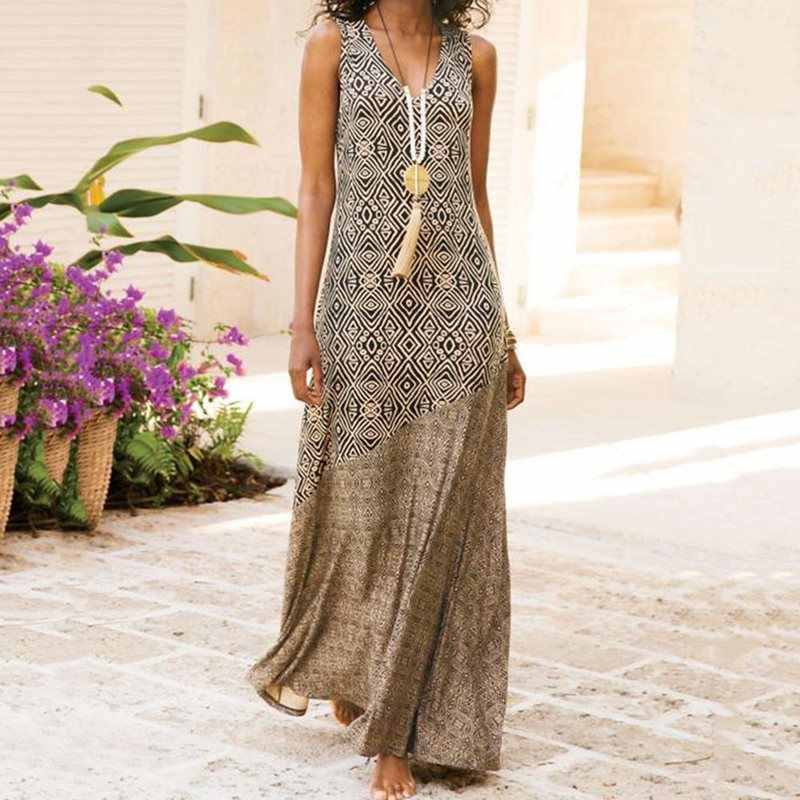 Bohemian Print A Line Dress Plus Size Sleeveless V-Neck Casual Maxi Dress Women Five Color Sexy Elegant Dresses