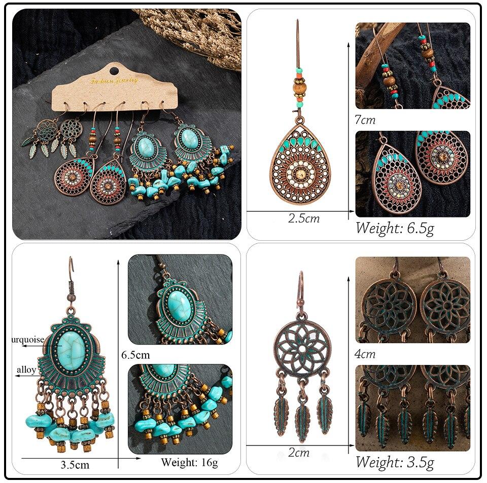 Bohemia Sea Shells Drop Earrings for Women Sets Vintage Ethnic Big Round Stones Wooden Tassel Fringe Earring Women's Set Jewelry (6)