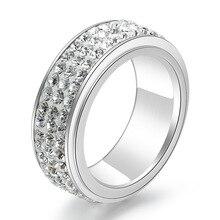Titanium Steel Three Rows of Diamonds Fashionable Mens and Womens Balls Engagement Rings Full Diamond