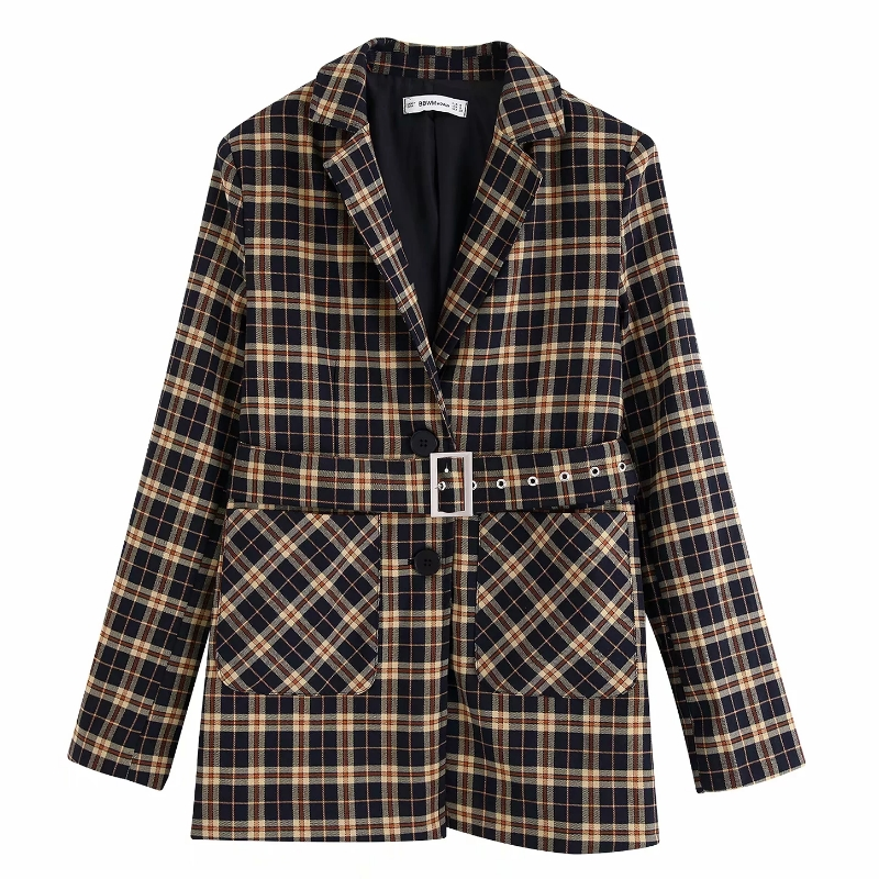 Women Fashion Sashes Blazer Long Sleeve Double Pocket Patch Outwear Suit Coat Office Lady Notched Business Jacket Tops CT327