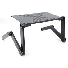 Mesa ergonômica ajustável para laptop de alumínio, suporte para mesa para PC, apoio para notebook com mouse pad, painel e cavalete para cama, TV portátil, escrivaninha dobrável