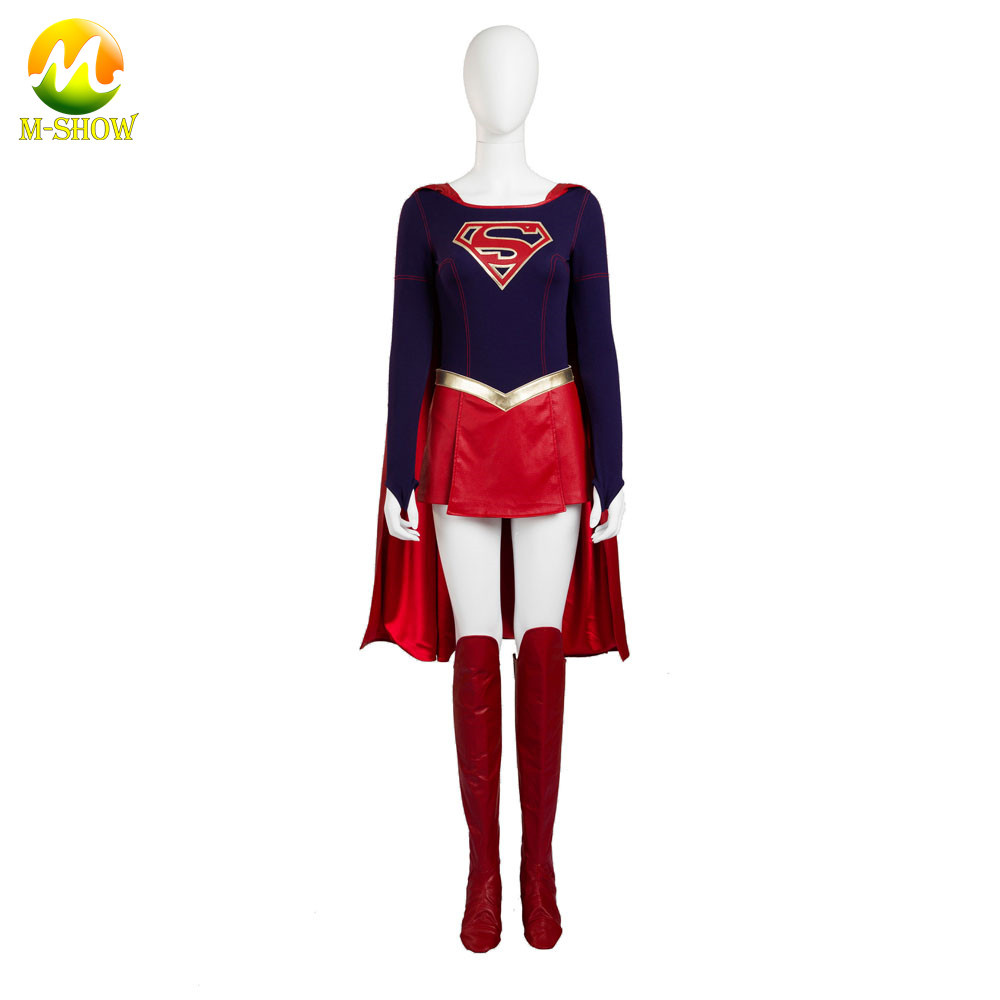 Supergirl Cosplay Costume Supergirl Jumpsuit Skirt Superhero Carnival Halloween Leather Costumes For Women Custom Made