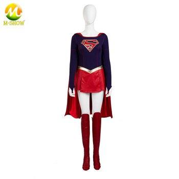 Supergirl Cosplay Costume Jumpsuit Skirt Superhero Carnival Halloween Leather Costumes For Women Custom Made