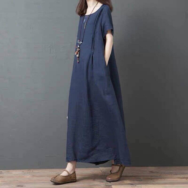 Women's 2019 Amoi Large Size Cotton Linen Loose-Fit Korean-style Large Size Applique Mid-length Dress
