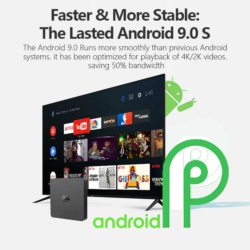 Aun Hộp 1 Android 9.0 TV Box, RAM 2GB + 16G Rom. 4K Giải Mã Ultra HD, WIFI HDMI2.0 Google Người Chơi Bộ Thông Minh Trên Hộp