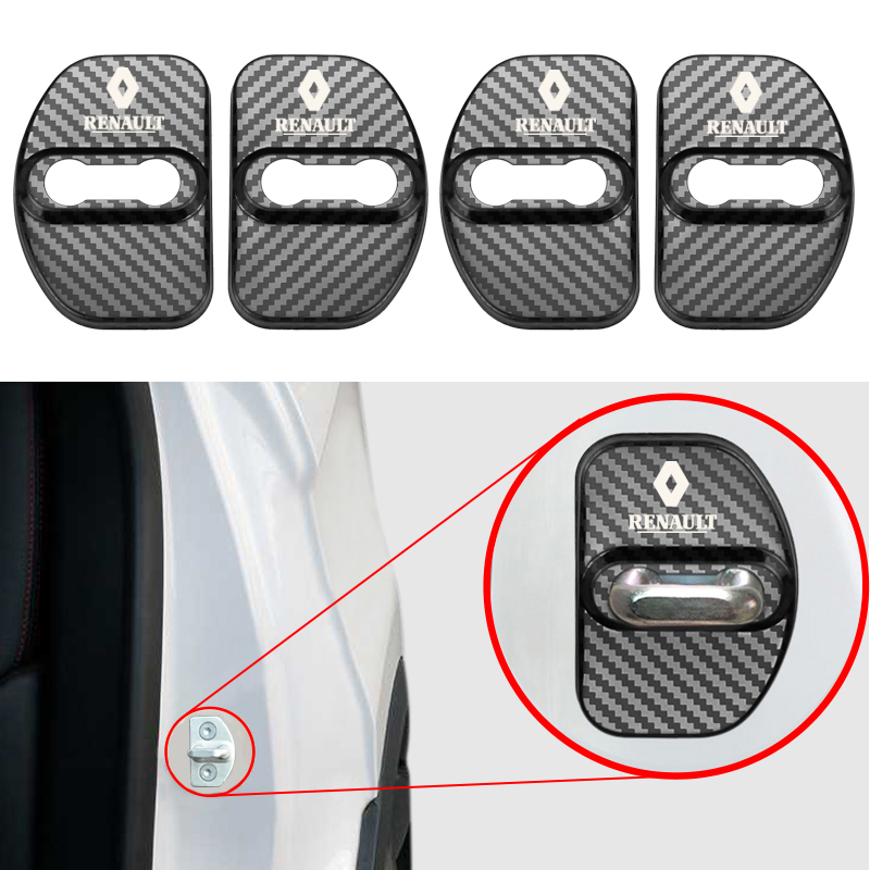 Car Carbon Fiber Pattern Auto Door Lock Cover Case For Renault Megane 2 Megane 3 Scenic Laguna 2 Captur Fluence Latitude Clio