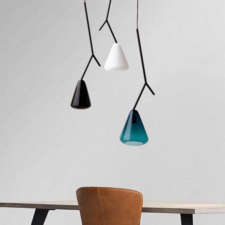 Işıklar ve Aydınlatma'ten Avizeler'de Modern Ağaç Şube Cam Avize Işıkları Minimalist Asılı yatak odası için lamba Restoran Bar aydınlatma armatürleri sanat dekoru Hanglamp title=