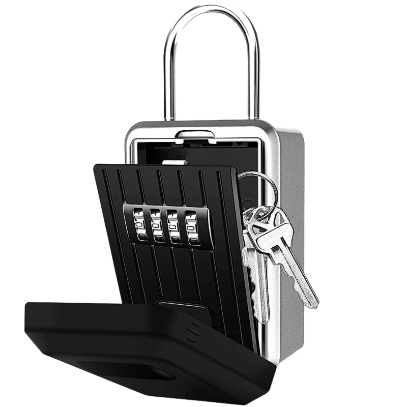 4-Digit Key Lock Box Combination Wall Mounted Lock Box Weatherproof Resettable Portable Lock Box (with Waterproof Cover)