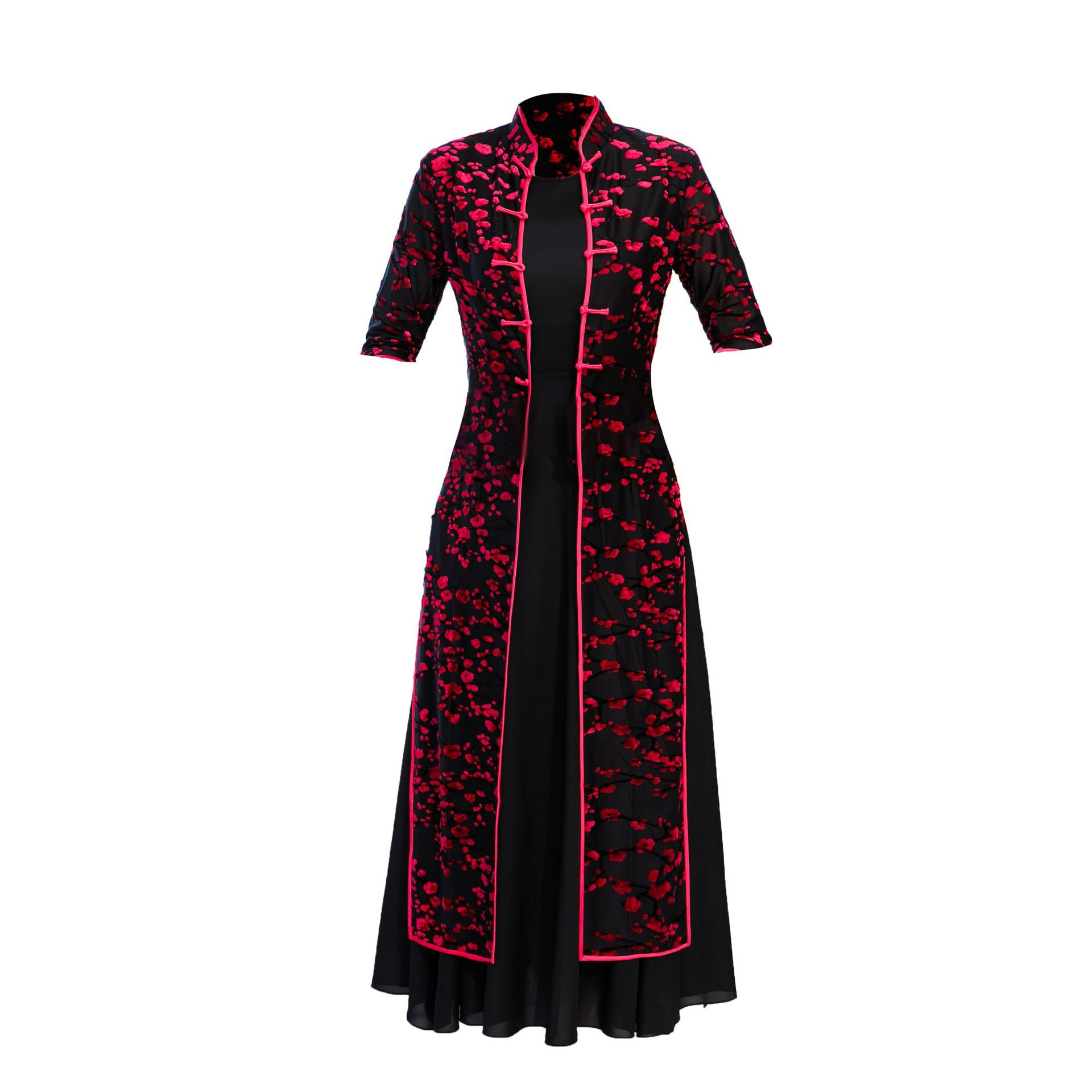 High Quality National Style Twinset Ladies' Vietnam Ao Dai Dress Velour Long Cheong sam Casual Dress Party Dress Plus Size M 4XL-in Dresses from Women's Clothing    1