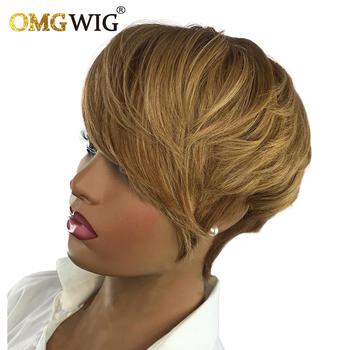 100 brazylijski dziewicze włosy peruki Machine Made Non Lace krótki fryzura Pixie peruki dla czarnych kobiet miód blond kolorowe włosy peruka tanie i dobre opinie Omgwig CN (pochodzenie) Remy włosy Proste Brazylijski włosy Średnia wielkość Średni brąz Wszystkie kolory Swiss koronki