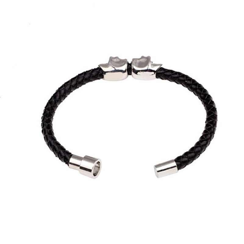 Готический стиль панк кожа двойной череп браслеты для мужчин ювелирные изделия