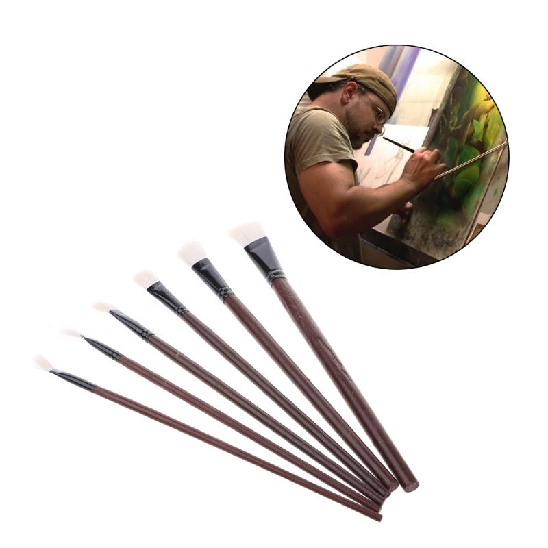 6Pcs Flat Painting Brushes Set Artist Wool Hair Watercolor Acrylic Oil Drawing QX2B