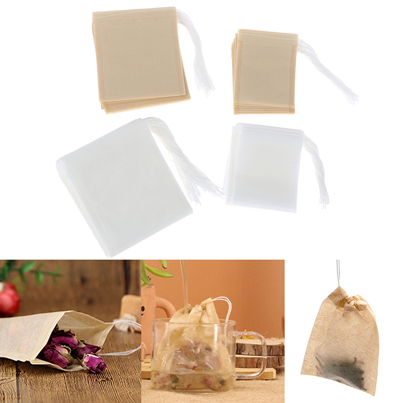 100 Pcs/Lot Papier Tee Taschen Filter Leere Kordelzug Teebeutel für Kraut Lose Tee