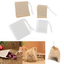 100Pcs/Lot Paper Tea Bags Filter Empty Drawstring Teabags for Herb Loose Tea Wholesale
