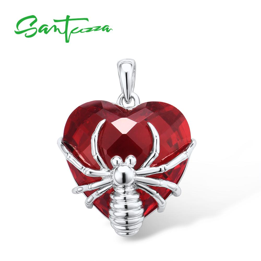 SANTUZZA Silver Pendant For Women Pure 925 Sterling Silver Heart Shape Red Stone Spider Trendy Party Pendant Fine Jewelry