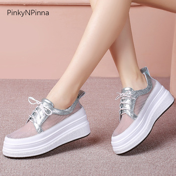 2020 hot summer vacation women mesh platform sneakers silver sheepskin genuine leather lining beach thick bottom casual shoes