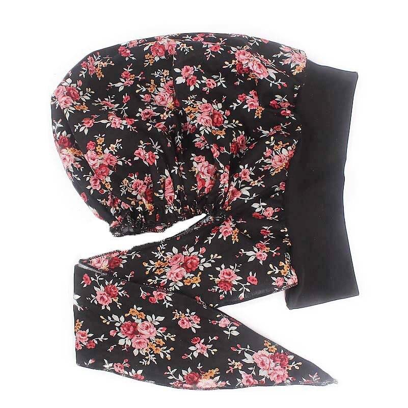 Image 4 - Muslim women print algodão turbante chapéu cachecóis pré amarrado  câncer quimioterapia beanies headwear bandana headwrap perda de cabelo  acessóriosAcessórios para cabelo (mulheres)