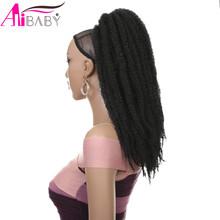 Afro Puff Marley warkocze Hairpiece Afro perwersyjne prosto kucyk kędzierzawe szydełkowe warkocze syntetyczne przedłużanie włosów Alibaby tanie tanio Kinky prosto Wysokiej Temperatury Włókna 80 g sztuka 1 sztuka tylko Clip-in Pure color 18inch 18inch Ponytail 2