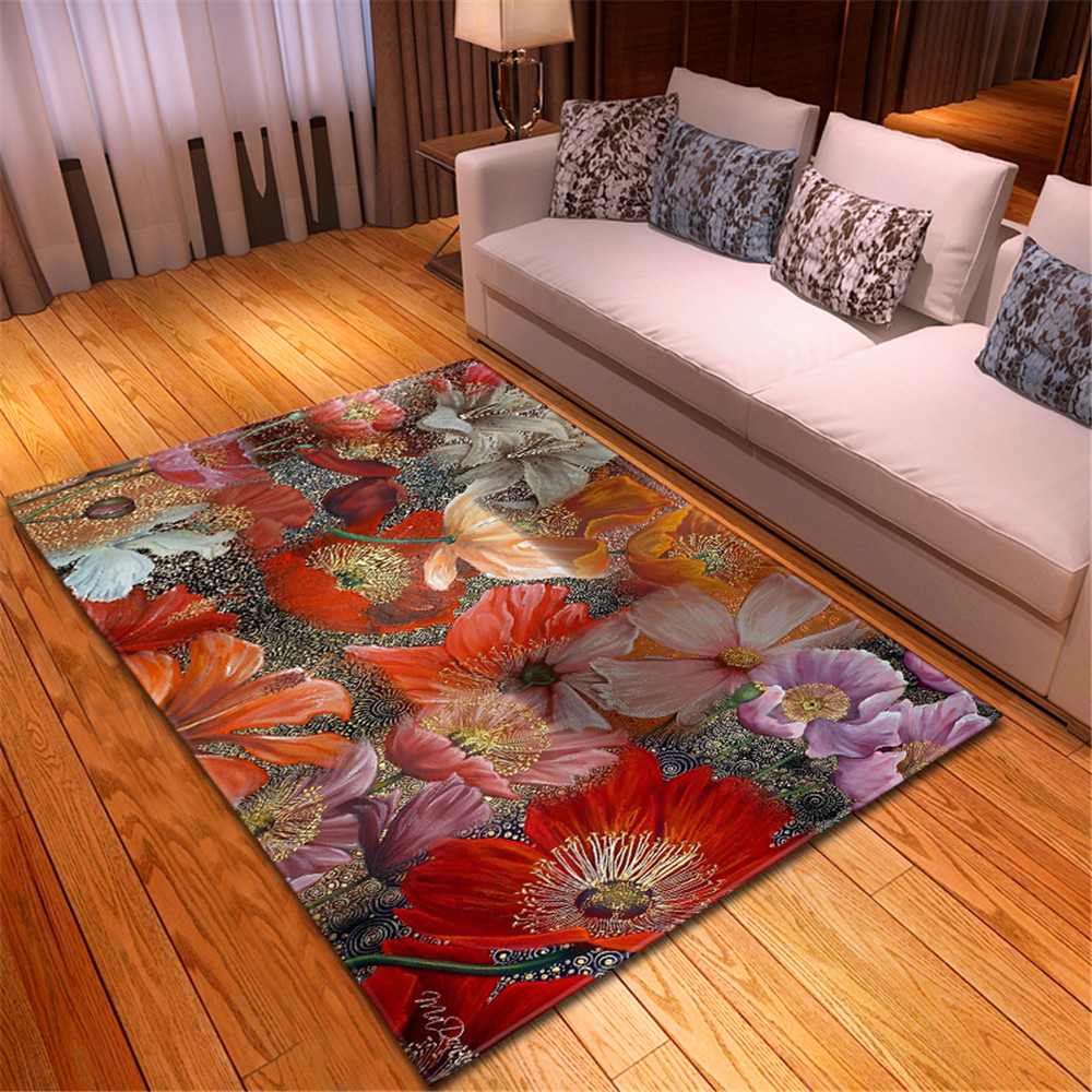Ins Oil Painting Living Room Area Rug Home Decor Bedroom Rug Room Floral Printed Floormat Dining Room Mats Parlor Carpet