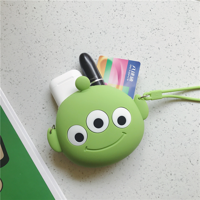 Q UNCLE Kawaii Wallet Casual Silicone Waterproof Mini Coin Pouch Headset Bag Pink Pig Bear Pattern Handbag Round Crossbody Purse