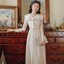 Новая мода Женская одежда винтажное платье женские платья с бантом