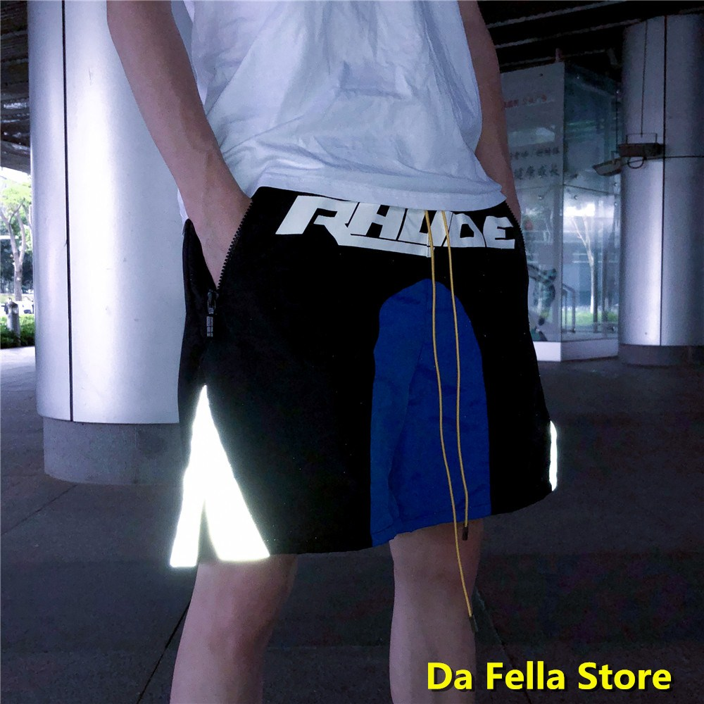 EU/US Size RHUDE Shorts 2020 New Men Women Casual Rhude Shorts Black  Blue Design Corner Reflection Breechcloth UK Back Pocket