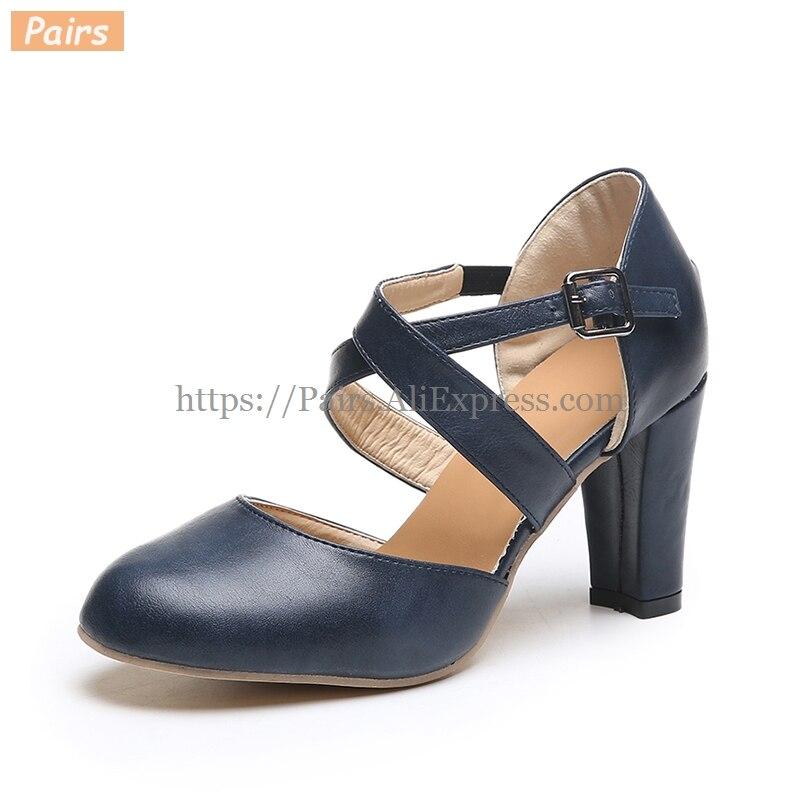 Elegant Sandals Women High Heels Pumps 2019 Fashion Women's PU Leather Cross Belt Sandals Thick Heel Autumn Shoes Zapatos Mujer