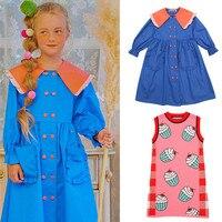 Korean Baby Girl Fashion Long Dresses Bebe Bebe Children Little Girl Peter Pan Collar Twril Dress Kids Brand Designer Clothe