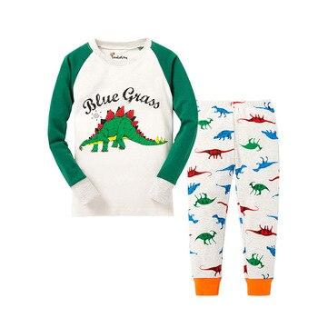 100 Cotton Boys and Girls Long Sleeve Pajamas Sets Children's Sleepwear Kids Christmas Pijamas Infantil Homewear Nightwear - P031, 3T