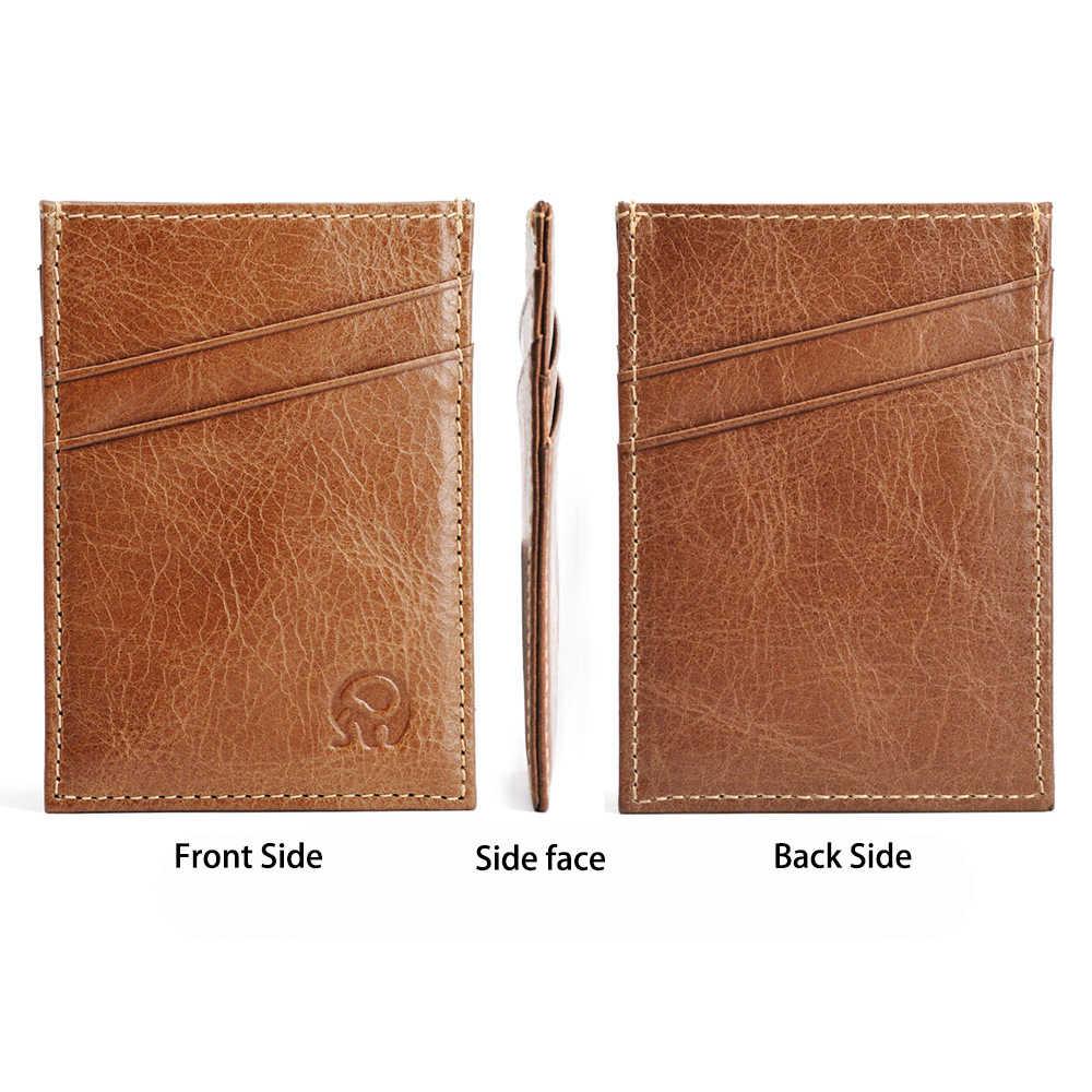 ใหม่ Slim 5 ช่องใส่การ์ดผู้ถือบัตรเครดิตหนังแท้ผู้ชาย Porte Carte Minimalist กระเป๋าสตางค์สำหรับบัตร