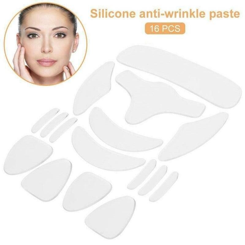 16 pièces Anti Rimpel patchs Silicone tampons réutilisable Silicone retrait des rides autocollant visage front cou oeil autocollant soins de la peau Patch
