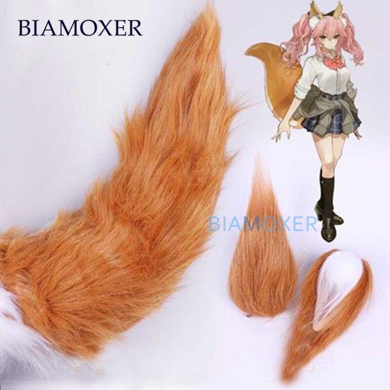 Fate//Grand Order EXTRA Tamamo no Mae Fox Ears Tail long fur Plush Cosplay prop