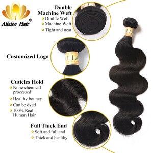 """Image 3 - Aliafee Hair malezyjski doczepy typu body wave z zamknięciem 100% ludzki włos nie Remy włosy wyplata 8 """" 28"""" Cal Natural Color"""