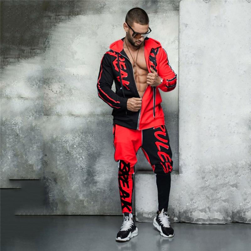 Brand Mens 2 Piece Tracksuit Set Causal Sweat Suit Streetwear Hoodies Sweatpants Suit Letter Printing Joggers Sets For Men