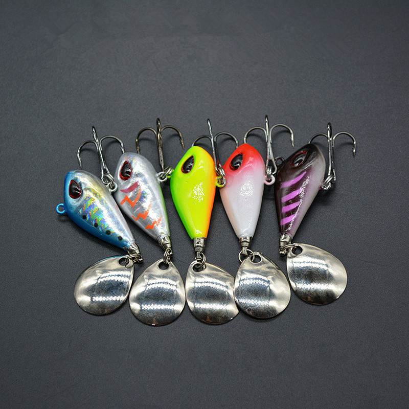 1PC New Metal Mini VIB With Spoon Fishing Lure 6g10g 2cm Fishing Tackle Pin Crankbait Vibration Spinner Sinking Bait