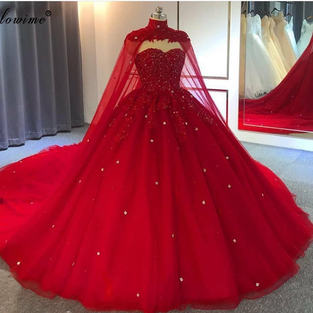 Dubai Muslim Red Wedding Dresses 2020 A-Line Beading Crystals Plus Size Wedding Gowns With Cape Gorgeous Brides Dresses Custom