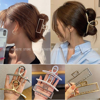 Nuove donne eleganti oro argento cava geometrica metallo artiglio dei capelli clip di capelli Vintage fascia moda tornante accessori per capelli