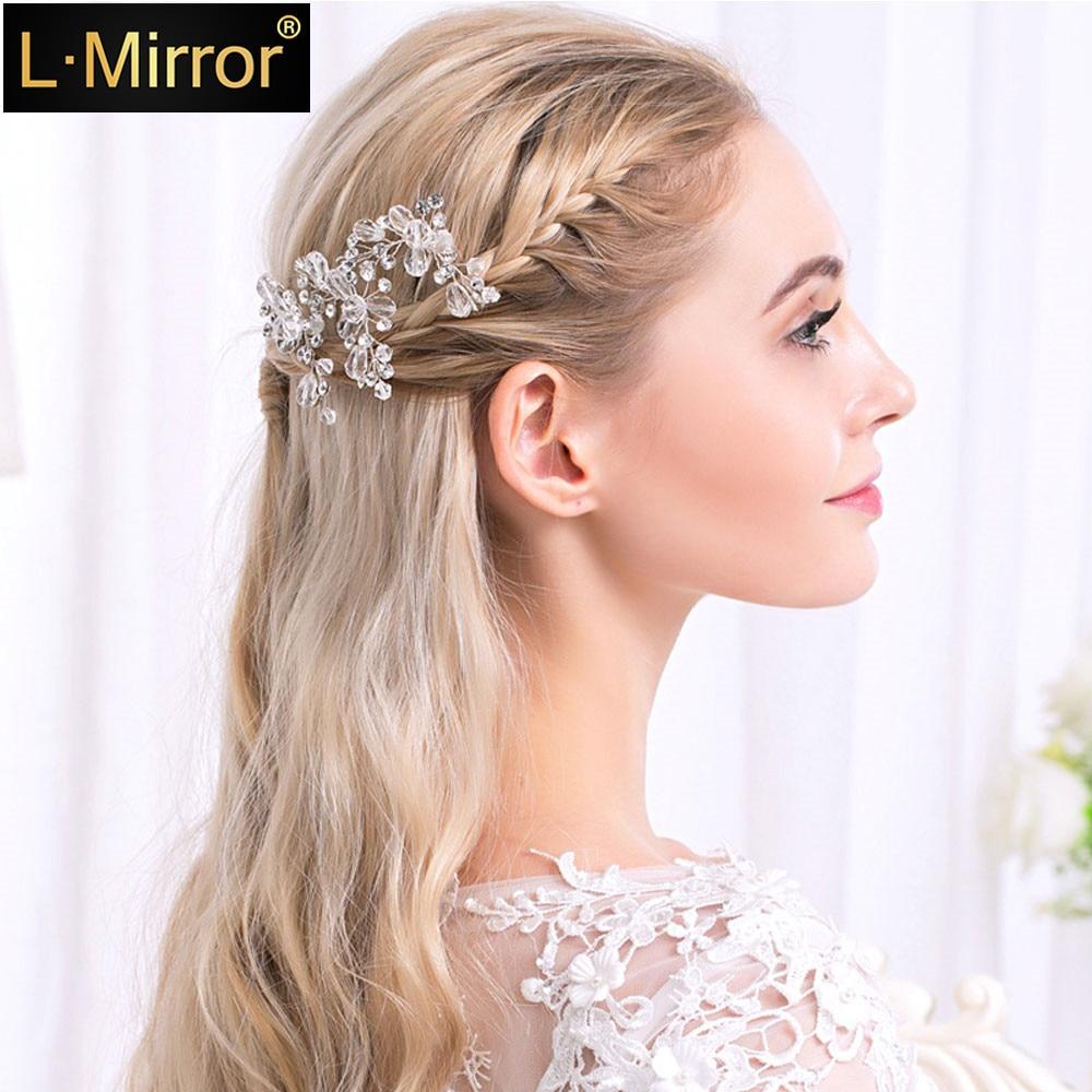 L.Mirror 1Pcs New Handmade Bridal Hair Pins Clips Crystals Girl Women Wedding Party Decorative Jewelry Accessories Headwear Hea